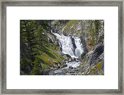 Yellowstone's Mystic Falls With Spring Flowers Framed Print by Bruce Gourley