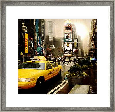 Yelow Cab At Time Square New York Framed Print