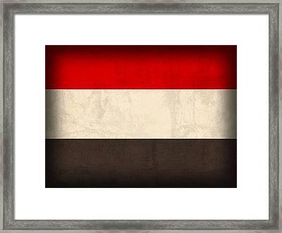 Yemen Flag Distressed Vintage Finish Framed Print by Design Turnpike