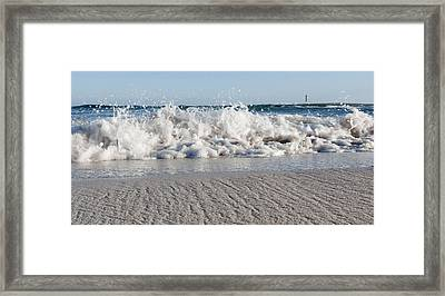 A Close Up Of A Mediterranean Wave In Punta Prima Beach With The Lighthouse - Yes I Got Wet Shoes Framed Print