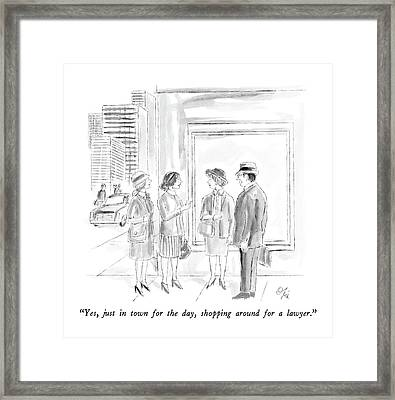 Yes, Just In Town For The Day, Shopping Framed Print by Everett Opie