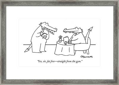 Yes, Sir, Fat Free - Straight From The Gym Framed Print by Charles Barsotti