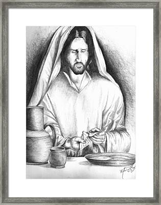 Yeshua Breaking Bread Framed Print by Marvin Barham