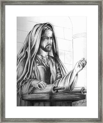 Yeshua In The Temple Framed Print by Marvin Barham