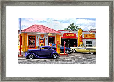 Yesterday's Shell Station Framed Print by Michael Pickett