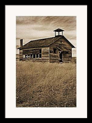 Abandoned School House Mixed Media Framed Prints