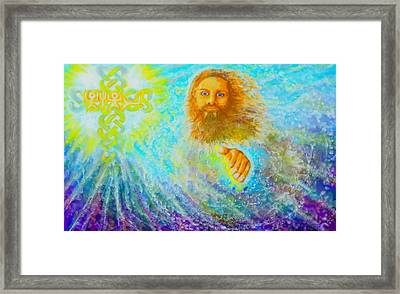 Framed Print featuring the painting Yhshuwh Savior by Hidden  Mountain