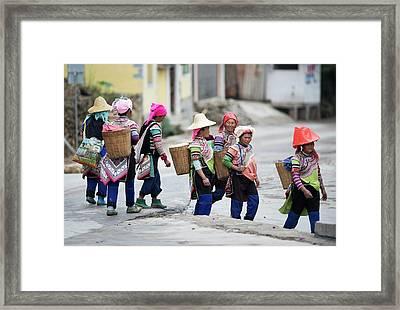 Yi Ethnic Minority Women Farmers Framed Print by Tony Camacho