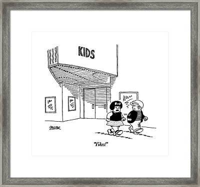 Yikes! Framed Print by Jack Ziegler