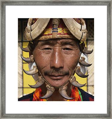 Yimchungru Tribesman During Hornbill Framed Print by Jeremy Hunter