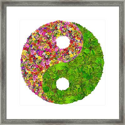 Yin And Yang Floral Isolated Symbol  Framed Print