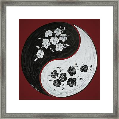 Yin And Yang Of Hibiscus  Framed Print by Chikako Hashimoto Lichnowsky
