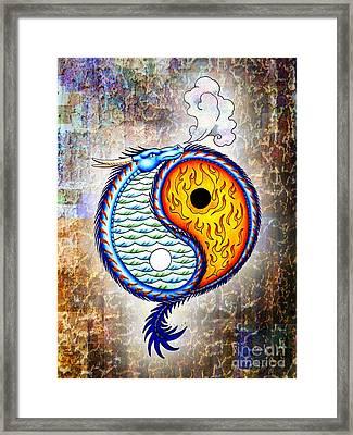 Yin And Yang Textured Framed Print