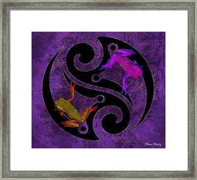 Yin And Yang Tree Frogs Framed Print by Diana Shively