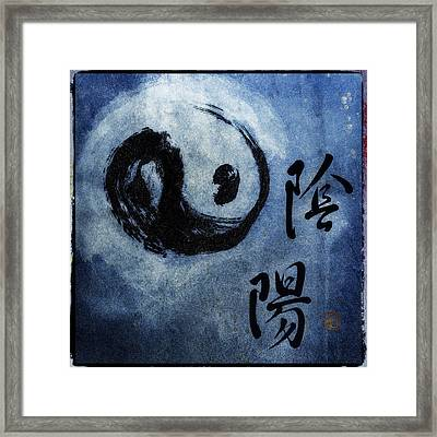 Framed Print featuring the photograph Yin  Yang Brush Calligraphy by Peter v Quenter