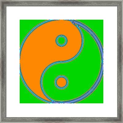 Yin Yang Orange Green Pop Art Framed Print