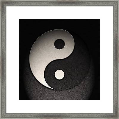 Framed Print featuring the digital art Yin Yang Symbol Leather Texture by Brian Carson