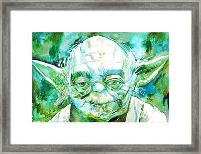 Yoda Watercolor Portrait Framed Print by Fabrizio Cassetta