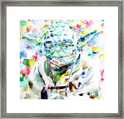 Yoda Watercolor Portrait.1 Framed Print by Fabrizio Cassetta