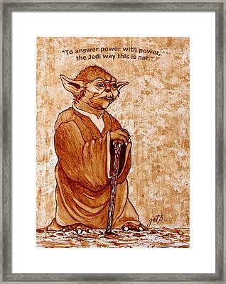 Framed Print featuring the painting Yoda Wisdom Original Coffee Painting by Georgeta Blanaru