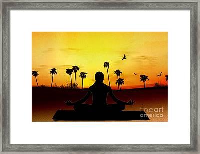 Yoga At Sunrise Framed Print by Bedros Awak