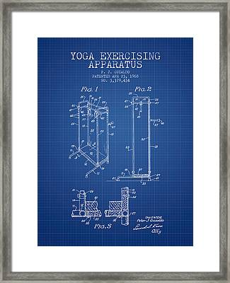 Yoga Exercising Apparatus Patent From 1968 - Blueprint Framed Print by Aged Pixel