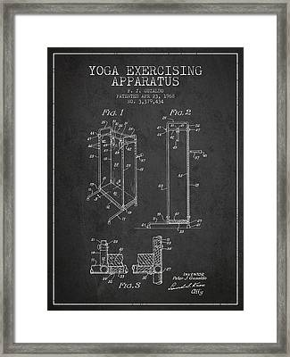Yoga Exercising Apparatus Patent From 1968 - Charcoal Framed Print by Aged Pixel