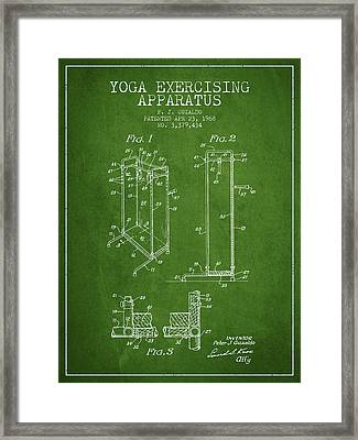 Yoga Exercising Apparatus Patent From 1968 - Green Framed Print by Aged Pixel