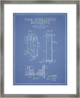 Yoga Exercising Apparatus Patent From 1968 - Light Blue Framed Print by Aged Pixel