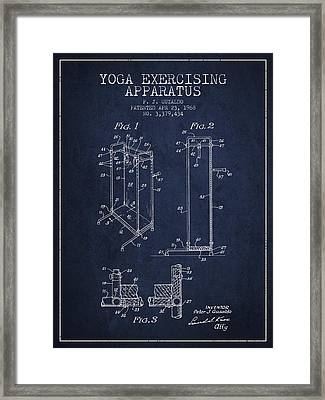 Yoga Exercising Apparatus Patent From 1968 - Navy Blue Framed Print by Aged Pixel