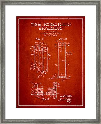 Yoga Exercising Apparatus Patent From 1968 - Red Framed Print by Aged Pixel
