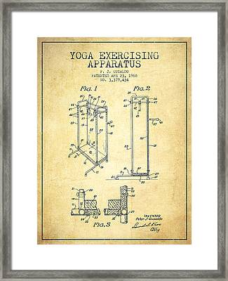 Yoga Exercising Apparatus Patent From 1968 - Vintage Framed Print by Aged Pixel