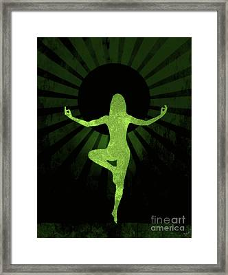 Yoga Female Silhouette Abstract Framed Print by Nishanth Gopinathan