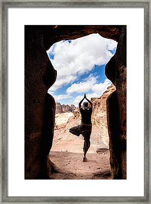 Yoga In Petra Framed Print by Alexey Stiop