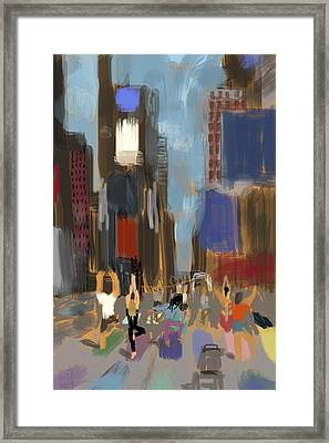 Yoga In Times Square Framed Print