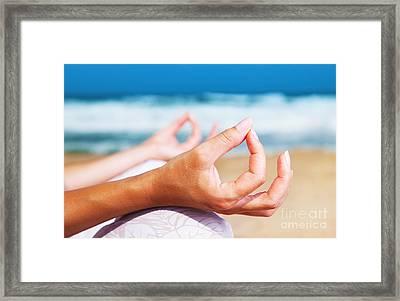 Yoga Meditation On The Beach Framed Print