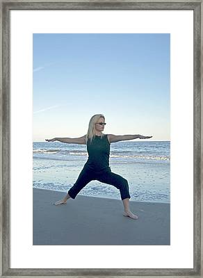 Yoga Woman On The Beach Framed Print