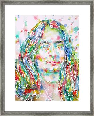 Yogananda - Watercolor Portrait Framed Print by Fabrizio Cassetta
