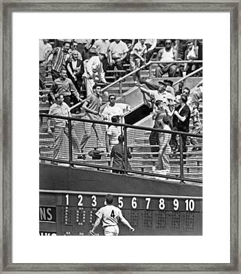 Yogi Berra Home Run Framed Print by Underwood Archives