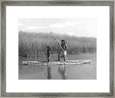 Yokuts Poling Tule Boats Framed Print by Underwood Archives Onia