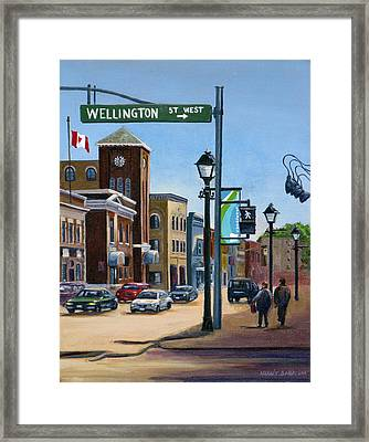 Framed Print featuring the painting Yonge And Wellington South Side    by Margit Sampogna