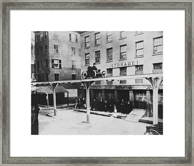 Yonkers Patented Railway Framed Print by Underwood Archives