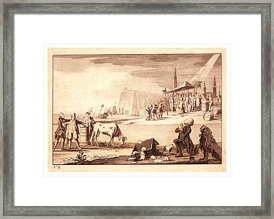 York Town, En Sanguine Engraving Shows America Receiving Framed Print