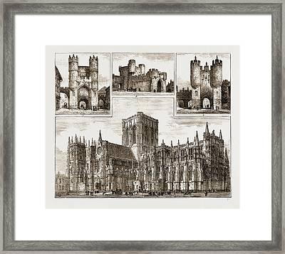 York Uk 1873, I. Monk Bar. 2. Walm Gate. 3. Micklegate Bar Framed Print by Litz Collection