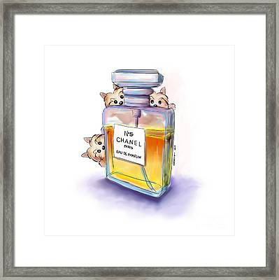 Yorkie Chanel Crazies Framed Print by Catia Cho