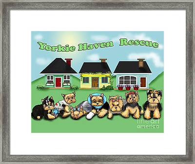 Yorkie Haven Rescue Framed Print by Catia Cho