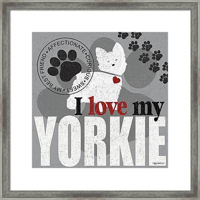 Yorkie Framed Print by Kathy Middlebrook