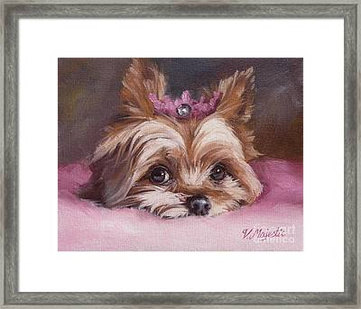 Yorkshire Terrier Princess In Pink Framed Print