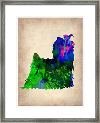 Yorkshire Terrier Watercolr Framed Print by Naxart Studio