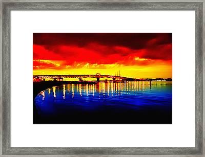 Yorktown Bridge Sunset Framed Print by Bill Cannon